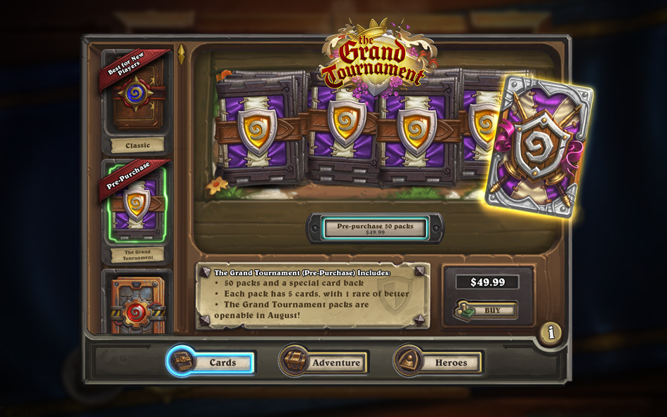 Extension Hearthstone Tournoi d'argent boosters Fille Geek
