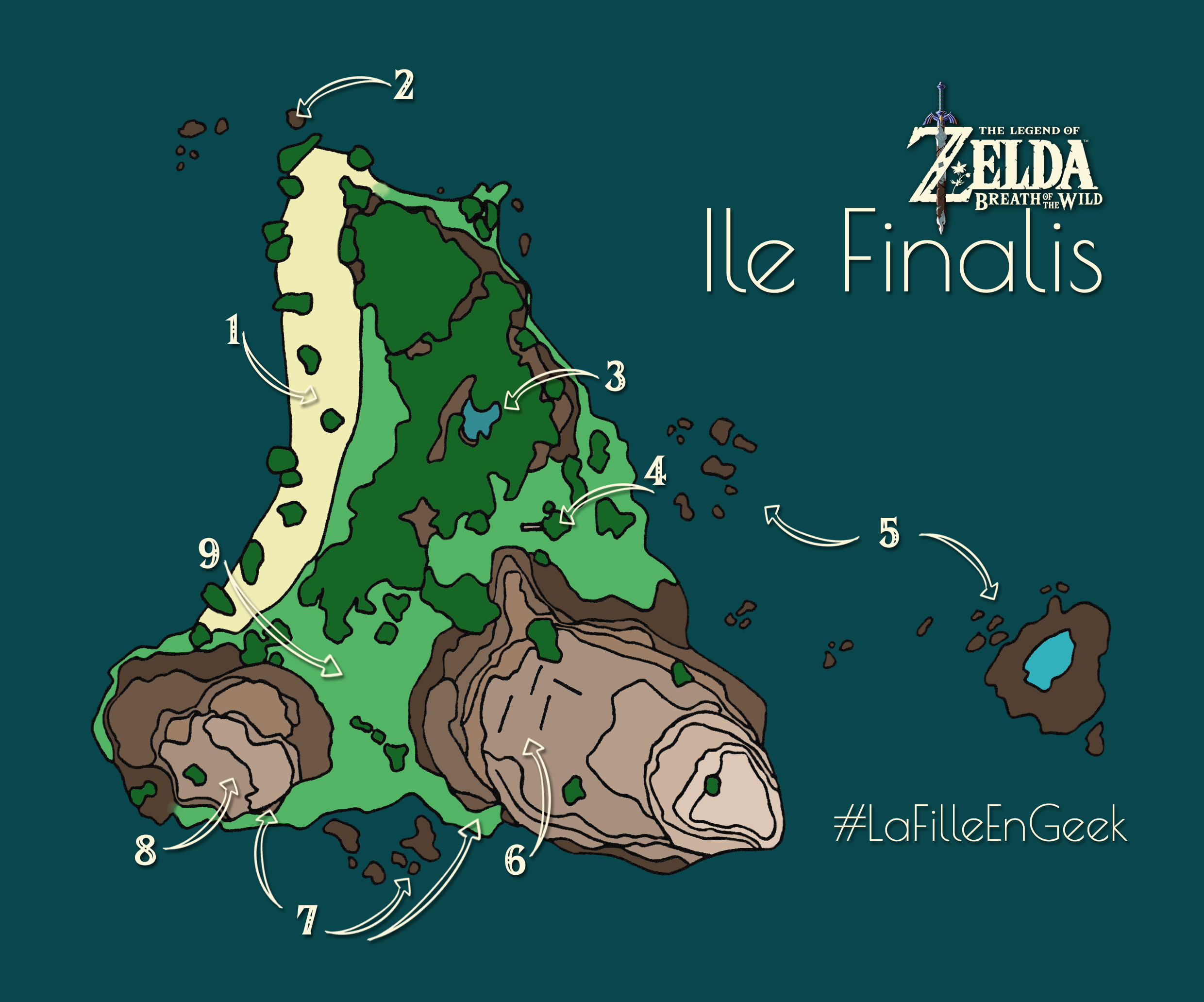 Carte Ile Finalis Zelda Breath of the Wild Fille Geek