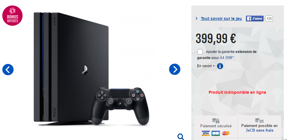 PS4 Pro 1To France